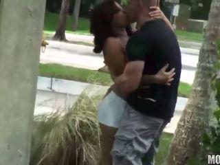Girl sucks outdoors