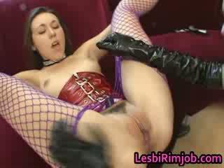 Lesbian slut gets ass fucked by strapo...