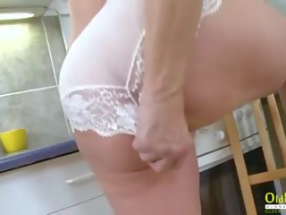 Oldnanny Hot Mature Lady Solo in the Kitchen: Free Porn 75