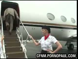 Air stewardess CFNM blowjob and sex