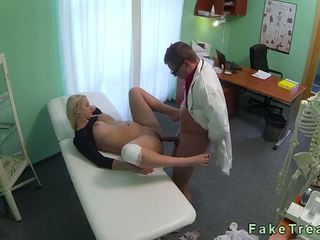 Big tits blonde with injured knee fucked by