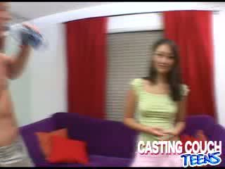 Oriental model cutie grabs some pillow while she gets Rough boner hammered