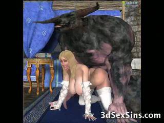 Gorkunç creatures fuck 3d babes!