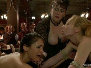Celebrating with two girl bondage fucking