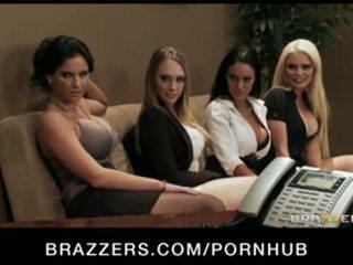 Four Hot big-boob office sluts fuck boss' big-dick in office orgy