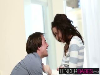 Sexy and hot teen babe Belle Knox loves hot cum on her pussy