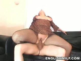 Hot blonde MILF rides huge dong in black pantyhose