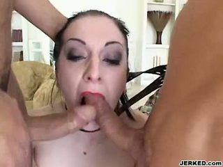 Renee pornero takes 2 hard jocks on her mouth at the same time