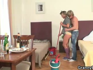 Cleaning woman rides his horny dick